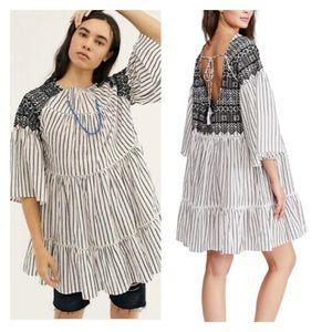 FREE PEOPLE LOLA Embroidered Tunic Mini Dress